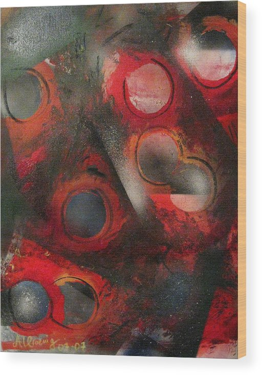 Wood Print featuring the painting Raindrops Roses by Andrea Noel Kroenig