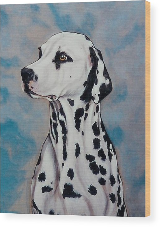 Dogs Wood Print featuring the painting Spotty by Lilly King