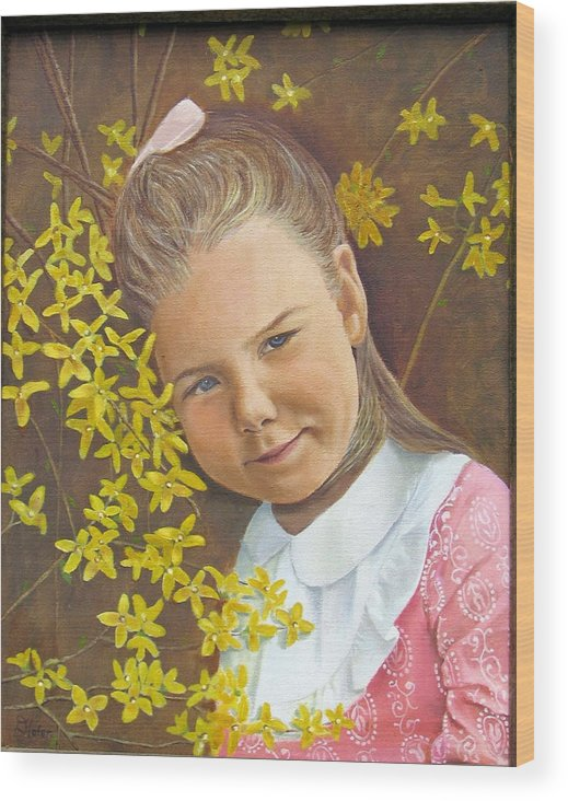 Portraits Wood Print featuring the painting Spring Peach by Donald Hofer