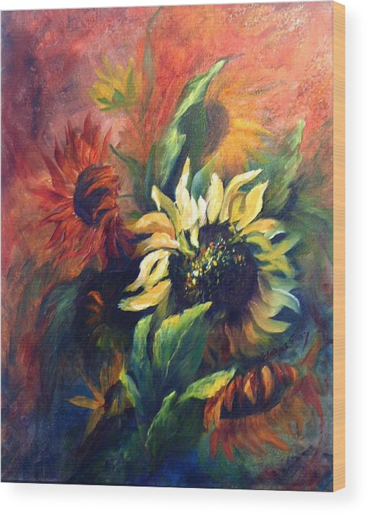 Sunflower Wood Print featuring the painting Sunflowers In Red by Elaine Bailey