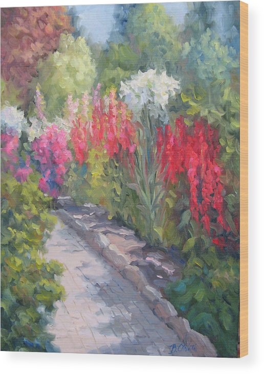 Garden Wood Print featuring the painting Sunlit Garden by Bunny Oliver