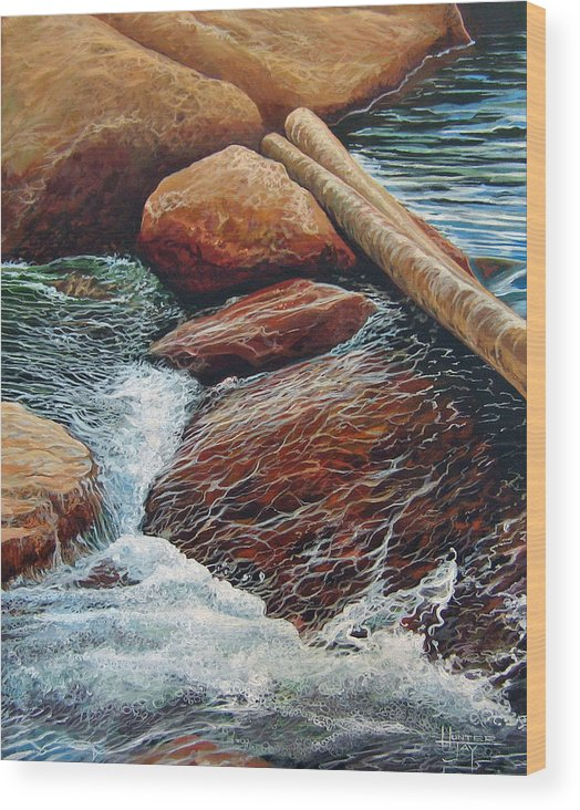 Stream Wood Print featuring the painting The Crossing by Hunter Jay