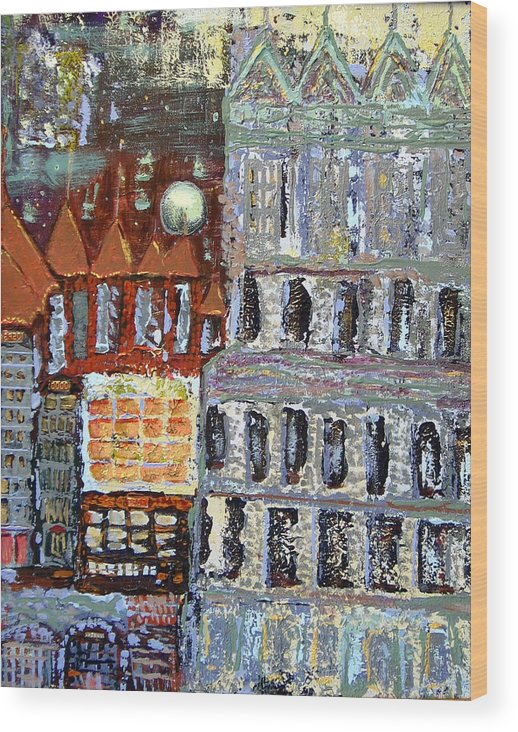 City Wood Print featuring the painting Untitled by Gaye Heidinger