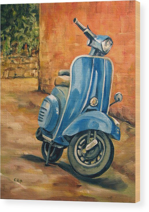 Vespa Wood Print featuring the painting Vespa 2 by Cheryl Pass
