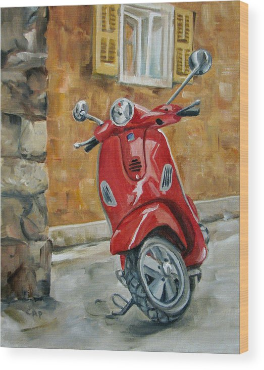 Vespa Wood Print featuring the painting Vespa 4 by Cheryl Pass
