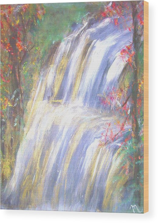 Landscape Wood Print featuring the painting Waterfall Of El Dorado by Michela Akers