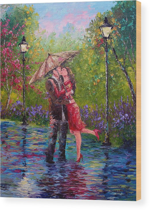 Kiss Wood Print featuring the painting Wet Kiss by David G Paul