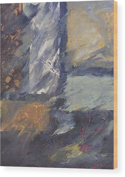 Abstract Wood Print featuring the painting Windows by Marcia Paige