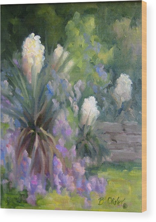Yucca Wood Print featuring the painting Yucca And Wisteria by Bunny Oliver