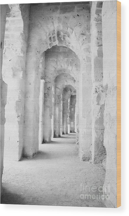 Tunisia Wood Print featuring the photograph Arched Walkway At Entrance Of The Old Roman Colloseum At El Jem Tunisia by Joe Fox