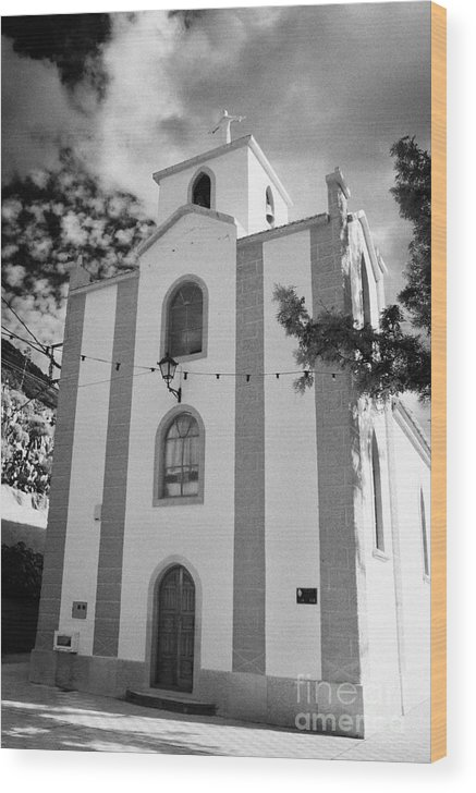 Europe Wood Print featuring the photograph front of the church in Los Banquitos Tenerife Canary Islands Spain by Joe Fox
