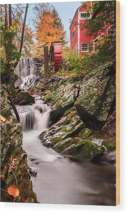 Grist Mill Wood Print featuring the photograph Grist Mill-bridgewater Connecticut by Expressive Landscapes Fine Art Photography by Thom
