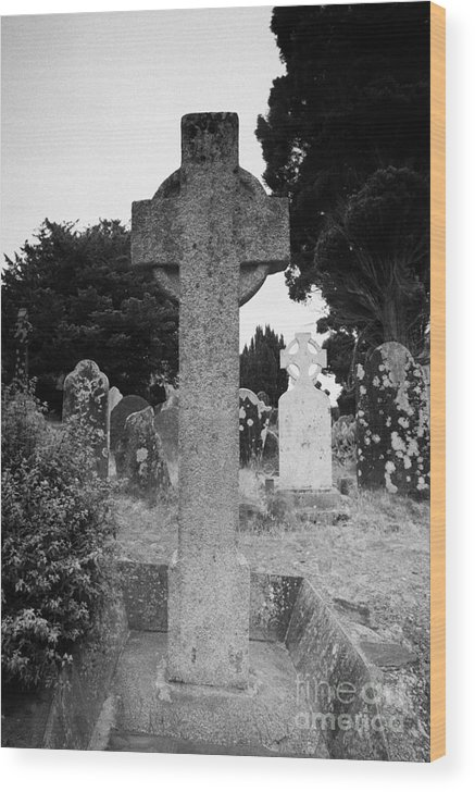 Ireland Wood Print featuring the photograph St Kevins Cross High Celtic Cross Grave Stone Glendalough Monastery County Wicklow Republic Of Ireland by Joe Fox