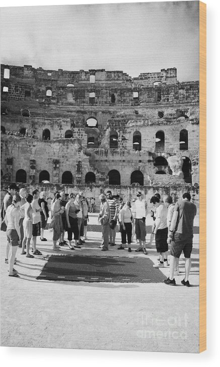 Tunisia Wood Print featuring the photograph Tour Guide Explains To Group Of British Tourists About Gladiator Pits On The Floor Of The Arena Of The Old Roman Colloseum At El Jem Tunisia Vertical by Joe Fox