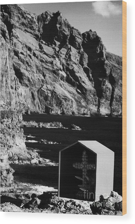 Europe Wood Print featuring the photograph vertical small shrine with cross made out of sea shells on rocky coastline at punta de teno Tenerife Canary Islands Spain by Joe Fox