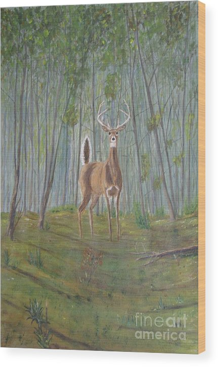 Deer Wood Print featuring the painting White-tailed Deer - Impressionistic by Dana Carroll