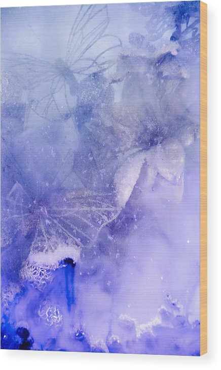 Blue Wood Print featuring the photograph Mystical Garden- Butterflies In Blue by Lisa Woodburn