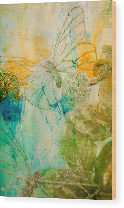 Butterfly Wood Print featuring the photograph Mystical Garden - Golden Butterflies by Lisa Woodburn