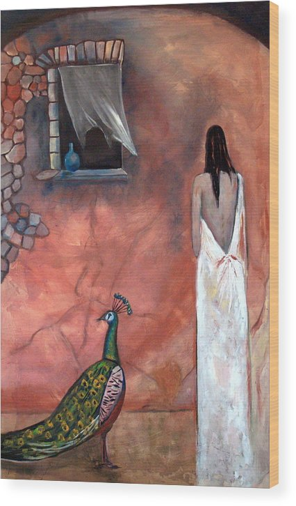 Woman Peacock Window Old Wall Red Orange Wood Print featuring the painting Abeyance by Niki Sands