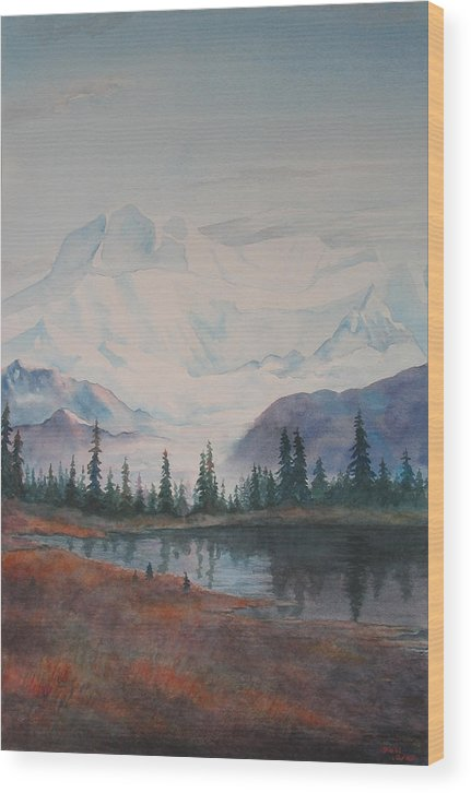 Alaska Wood Print featuring the painting Alaksa Mountain And Lake by Debbie Homewood
