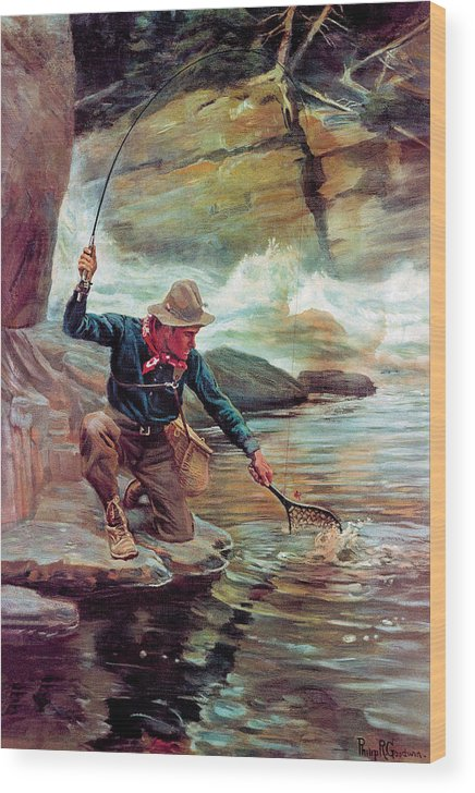 Fishing Wood Print featuring the painting Fisherman By Stream by Phillip R Goodwin