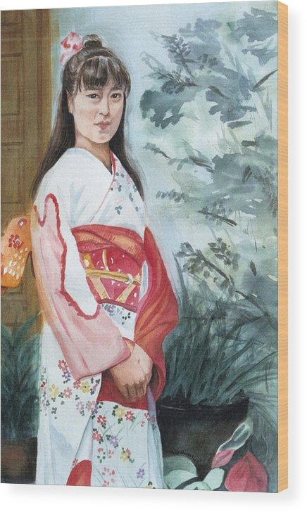 Japanese Girl In Kimono Wood Print featuring the painting Girl In Kimono by Judy Swerlick