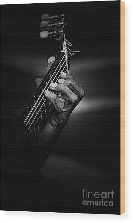 Guitar Wood Print featuring the photograph Hand Of A Guitarist In Monochrome by Sheila Smart Fine Art Photography