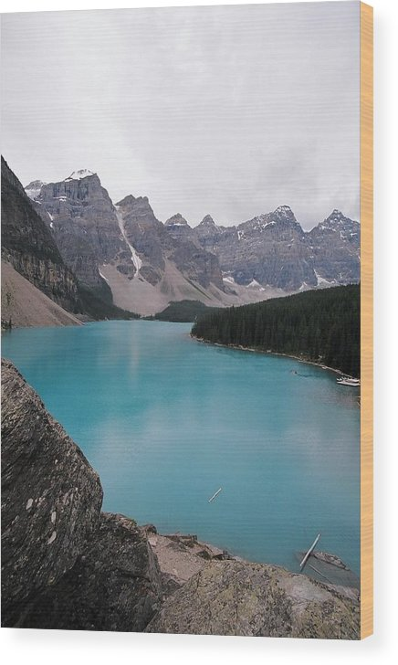 Landscape Wood Print featuring the photograph Lake Moraine by Caroline Clark