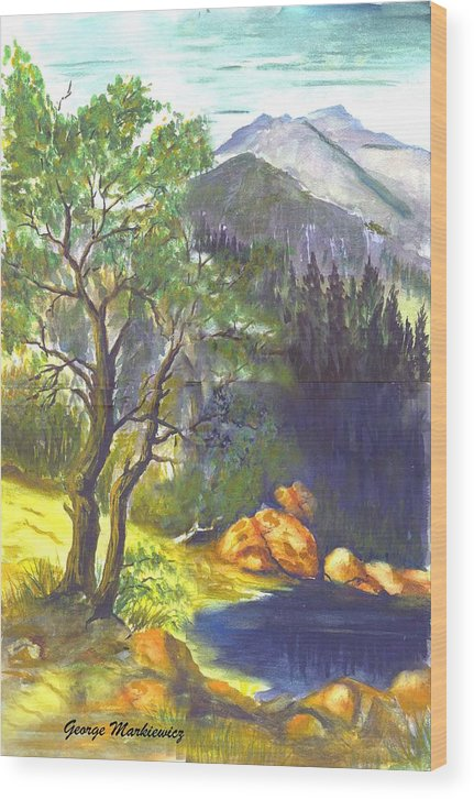 Landscape With Mountians Wood Print featuring the print Mountain Sun by George Markiewicz
