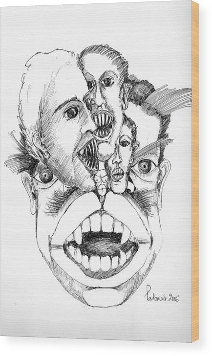 Surreal Wood Print featuring the drawing Nightmares by Padamvir Singh
