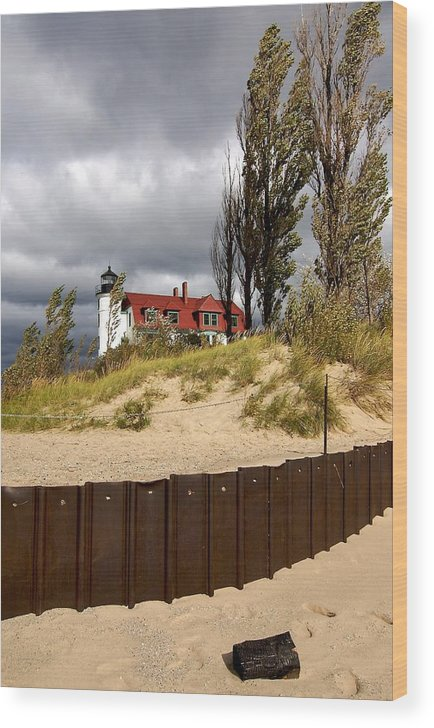 Lighthouse Wood Print featuring the photograph Pointe Betsie Lighthouse by Michael Park