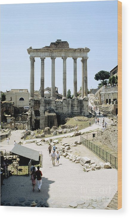 Roman Forum Wood Print featuring the photograph Temple Of Saturn Roman Forum Rome Italy by House of Joseph Photography