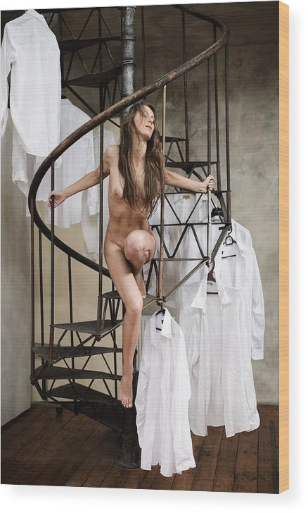 Sensual Wood Print featuring the photograph The Stairs by Olivier De Rycke