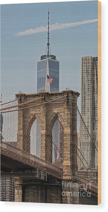 Manhattan Wood Print featuring the photograph Brooklyn Bridge And One World Trade Center In New York City by David Oppenheimer