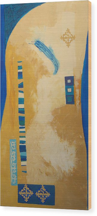 Abstract Wood Print featuring the painting Steppe Metamorphosis 1 by Aliza Souleyeva-Alexander