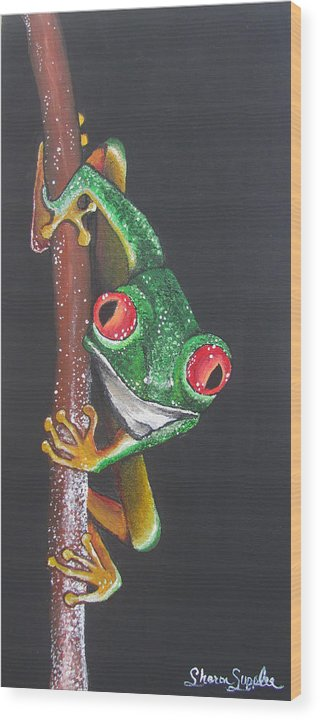 Frog Wood Print featuring the painting That Makes You The Fly by Sharon Supplee
