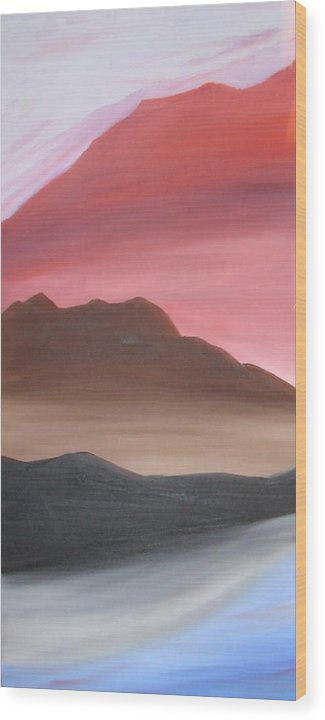 Mountain Wood Print featuring the painting 3 Mountains by Liz Vernand