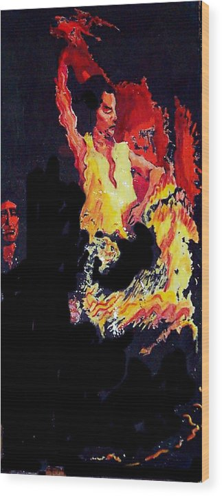 Figurative Wood Print featuring the painting Baila Gitana Baila by Elio Lopez
