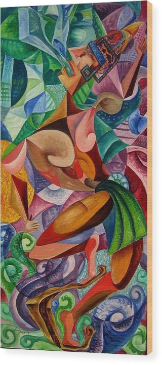 Painting Paintings Mexican Art Painting Wood Print featuring the painting Balancing With What Is Given by Horacio Montes
