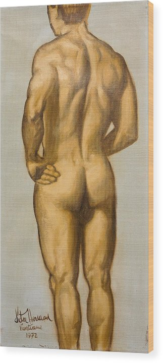 Man Wood Print featuring the painting Male Nude Self Portrait By Victor Herman by Joni Herman