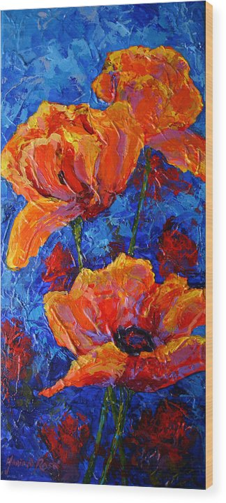 Poppies Wood Print featuring the painting Poppies II by Marion Rose