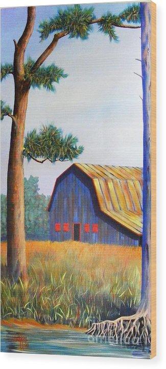 Barn Wood Print featuring the painting Riverbank Barn by Hugh Harris