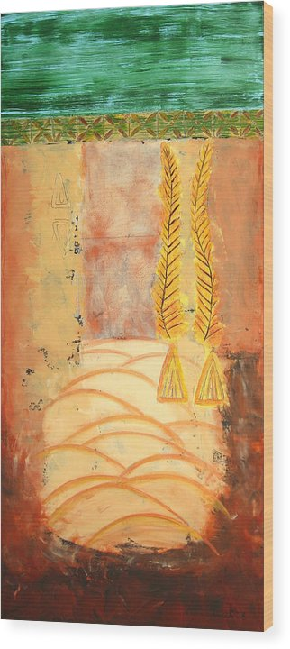 Abstract Wood Print featuring the painting Scythian Gold 2 by Aliza Souleyeva-Alexander
