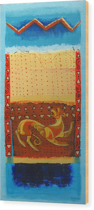 Abstract Wood Print featuring the painting Scythian Gold 3 by Aliza Souleyeva-Alexander