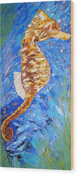 Seahorse Wood Print featuring the painting Seahorse Number 1 by Ricklene Wren