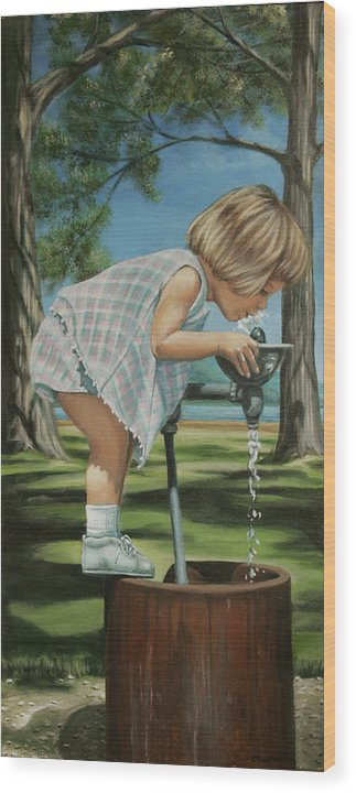 Children Wood Print featuring the painting The Fountain by Colleen Maas-Pastore