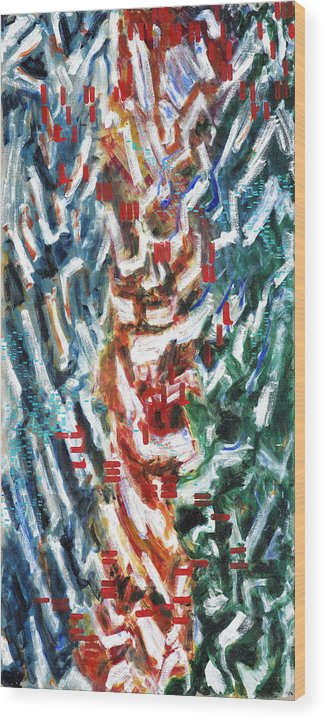 Abstract Red Green Blue White Pattern Wood Print featuring the painting Totem by Joan De Bot