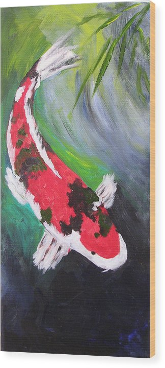 Koi Wood Print featuring the painting Tricolored Koi by Barbara Harper