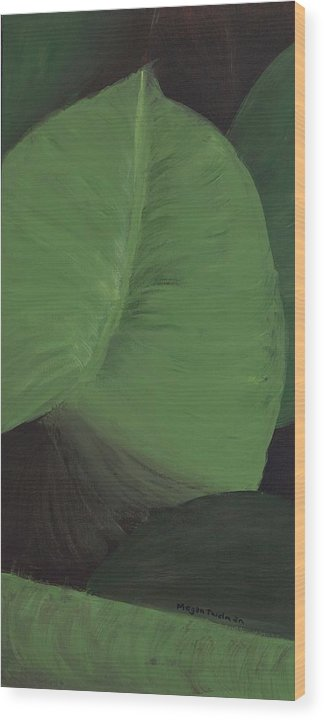 Leaves Wood Print featuring the painting Triptych Three - Big Leaves by Megan Thielman