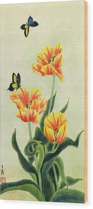 Flower Wood Print featuring the painting Tulips by Ying Wong